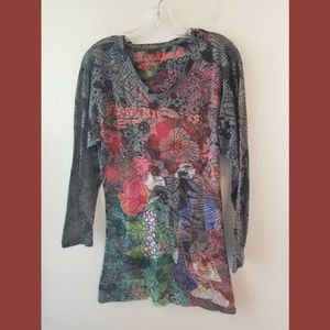 Desiguel 3/4 Sleeve Burnout Print Top